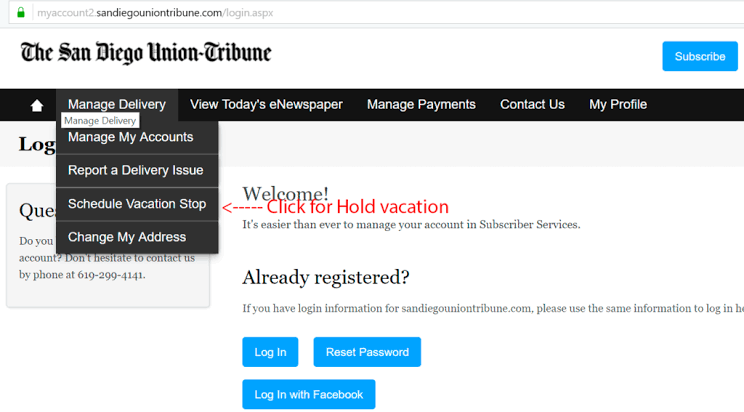 Union tribune newspaper vacation hold