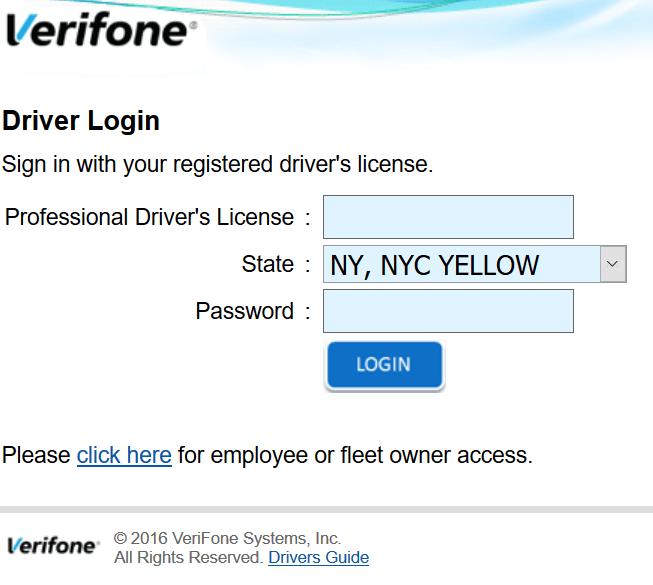 Verifone taxi driver login